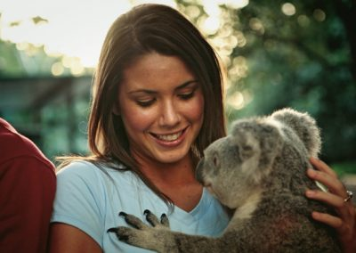 Cuddling a koala at Lone Pine Sanctuary